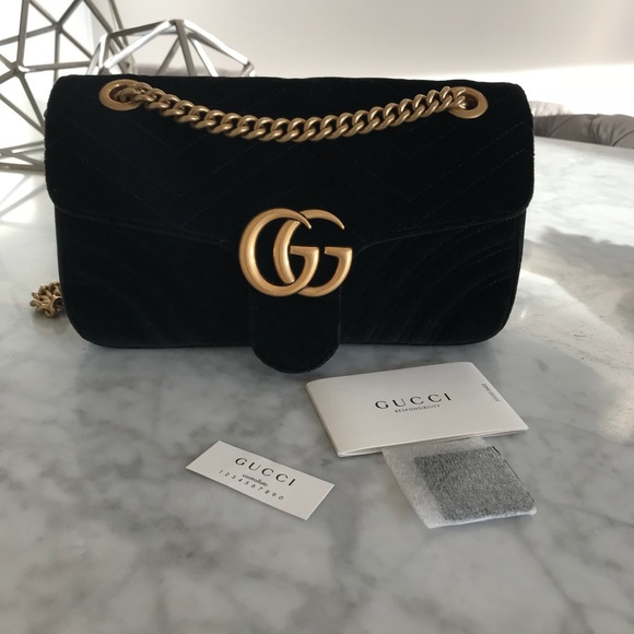 ebf1f9bf283 Gucci Handbags - Authentic SMALL Velvet Gucci Marmont